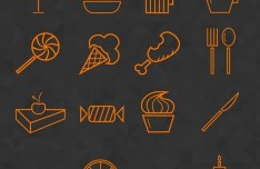 Food & Drink Line Icon Set PSD