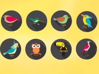 8 Flat Long Shadow Bird Icons Vector