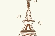 Hand Drawn Eiffel Tower Paris Vector