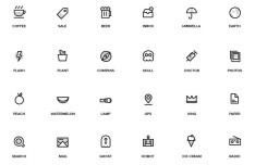 48 Random Outlined Icons Vector