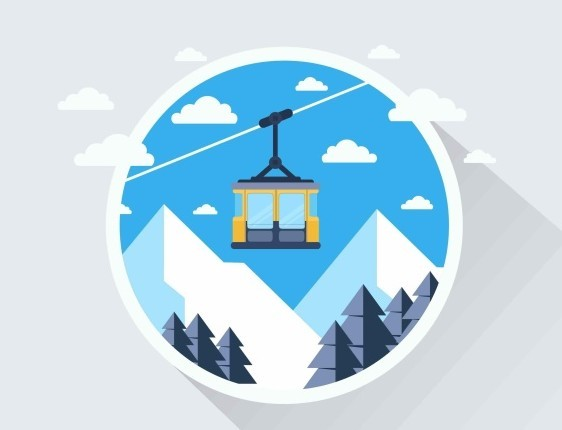 Flat Cable Car Vector