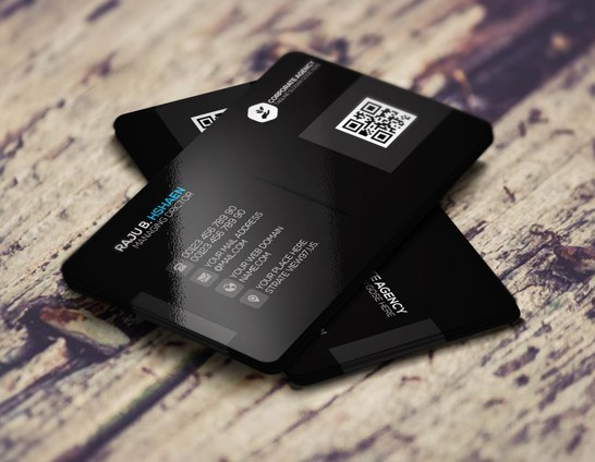 Sleek Black Corporate Business Card Template PSD