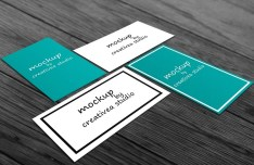 Green & White Business Card Templates PSD