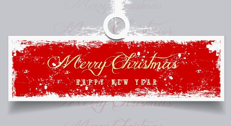 retro merry christmas happy new year vector banner