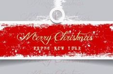 Retro Merry Christmas & Happy NEW Year Vector Banner