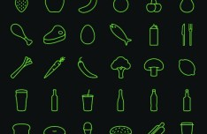 30 Fruit & Drink Line Icons Vector