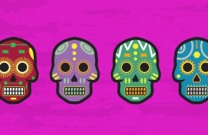 Candy Floral Skulls Vector