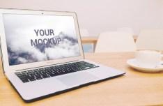 Macbook with Coffee Mockup PSD