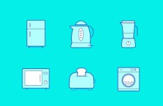 6 Kitchen Icons Vector