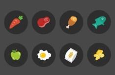 8 Ingredient Icons Vector