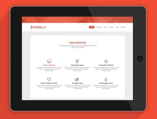 KOMOLA - Simple Clean Corporate Web Template PSD