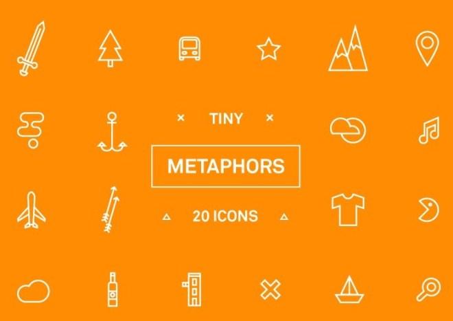 20 Metaphors Icons Vector