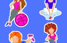 Girl Stickers Vector