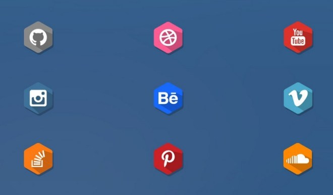 Long Shadow Flat Social Media Icons Vector
