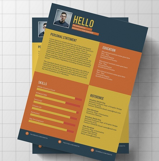Free Flat Modern Resume / CV Template PSD