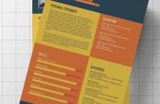 Flat Modern Resume CV Template PSD