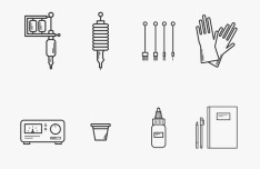 Tattoo Equipment Vector Icon Set