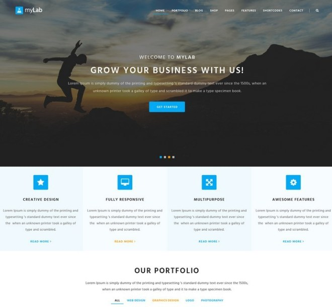 myLab Responsive Business Website Template PSD