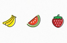 3 Fruit Icons Vector