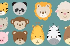 Flat Cute Animal Icon Set Vector