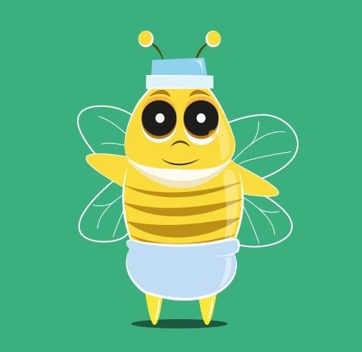 Cartoon Baby Bee Vector