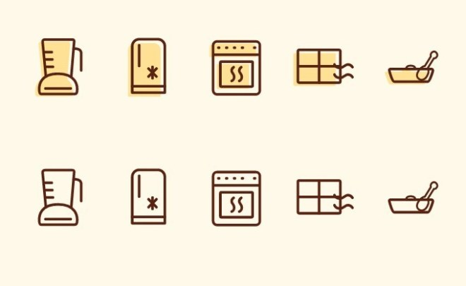 5 Flat Kitchen Line Icons Vector