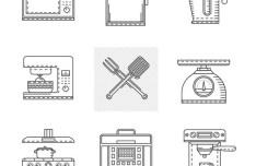 Kitchen Appliances Line Icons Vector