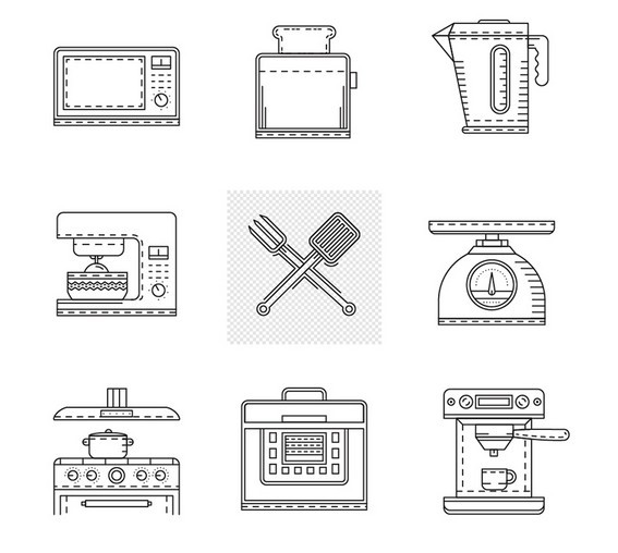 Kitchen Appliances Line Icons Vector