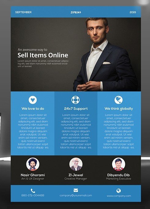 Flat Blue Corporate Flyer Template PSD