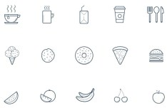 15 Kitchen Line Icons Vector