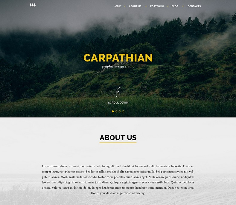 One Page Template Psd: Free Carpathian One Page Template PSD