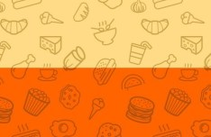 Seamless Food Icon Photo Patterns