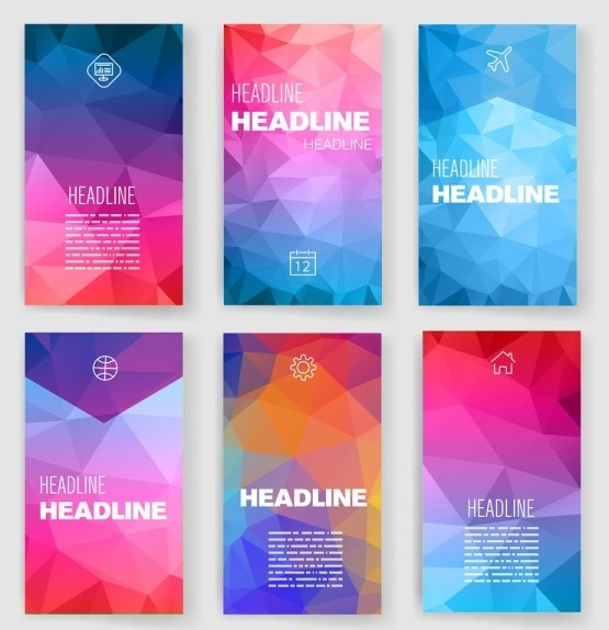 6 Colorful Polygon Backgrounds Vector Vol.1