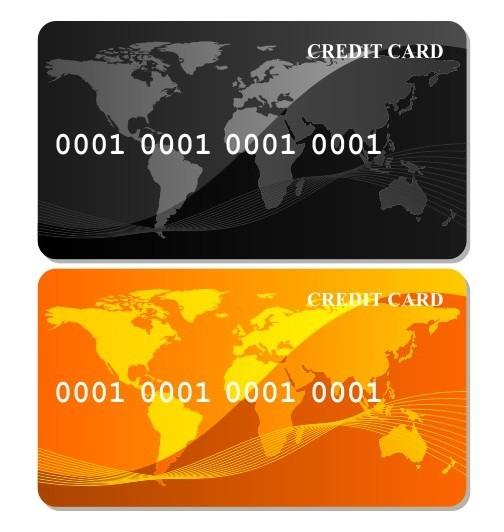 Black & Orange Credit Card Templates Vector