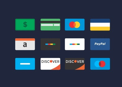 12 Flat Credit Card Icons PSD