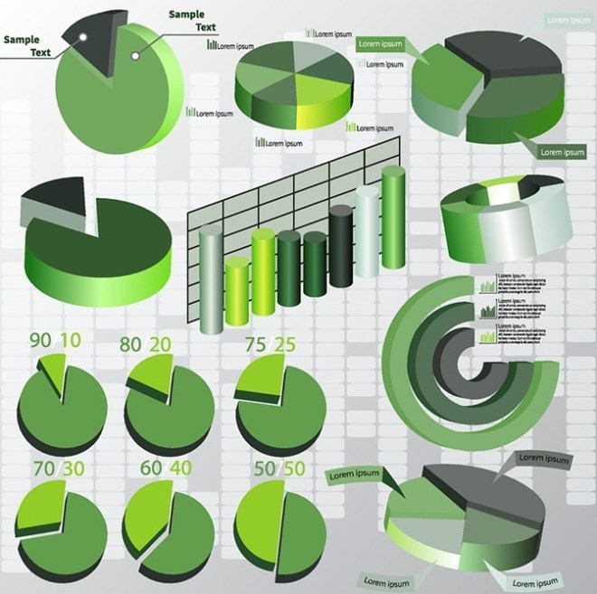 Green Business Chart & Diagram Set Vector