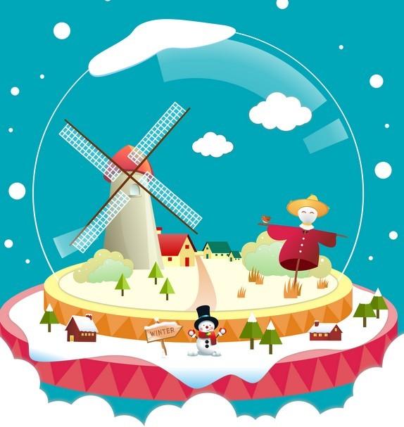 Christmas Crystal Ball Vector Illustration