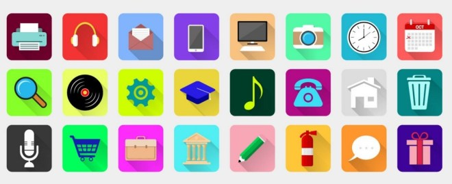 24 Rounded Flat Icons Vector