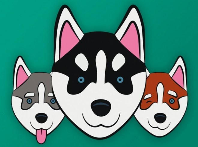 Husky Head Icons Vector
