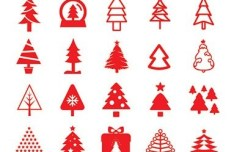 80 Red Christmas Tree Icons Vector