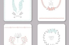 4 Clean Wedding Card Templates Vector