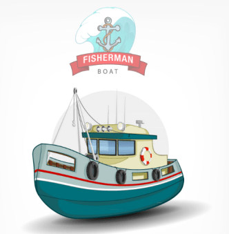 Fishman Boat Vector Illustration