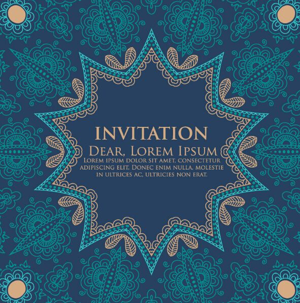 Vintage Blue Floral Invitation Pattern Background Vector