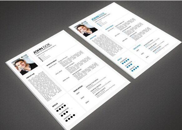 minimal resume templates psd 2 colors psd resume templates
