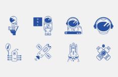 Blue Space Icon Vector Set