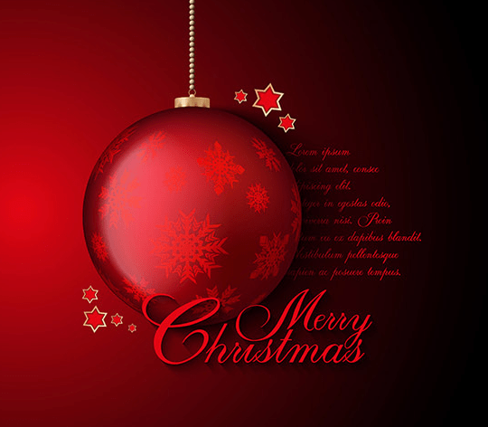 Red Christmas Ball Background Vector 01