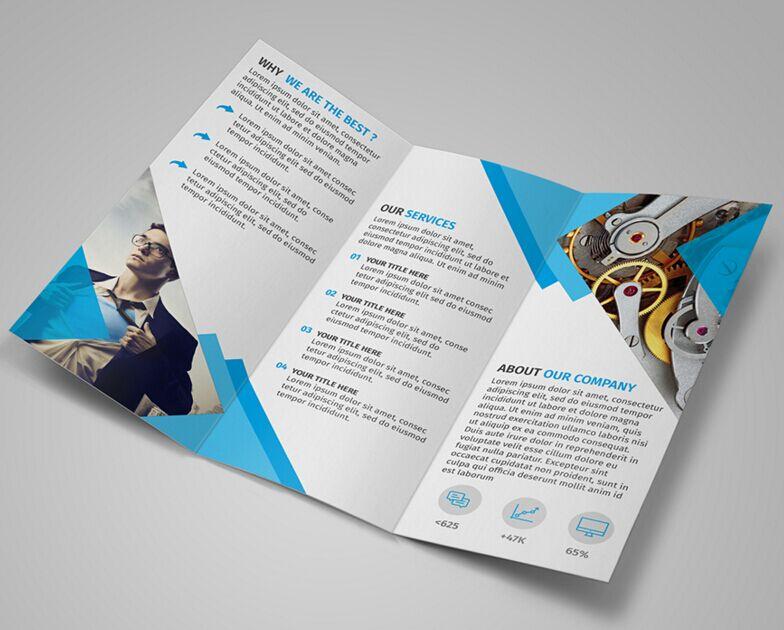 free modern blue tri-fold brochure template psd
