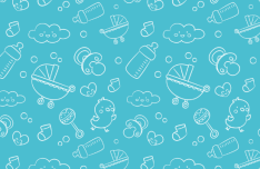 Baby Line Icons Pattern Vector