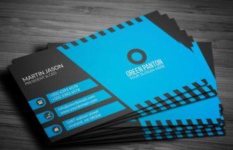 Elegant Blue Corporate Business Card Template Vector