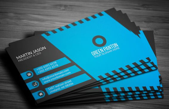 Elegant Blue Corporate Business Card Template Vector